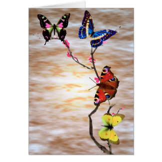 Butterflies and Cherry Blossoms Note Card