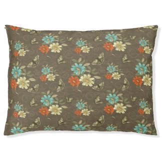 Butterflies and Flowers On Brown Dog Pillow
