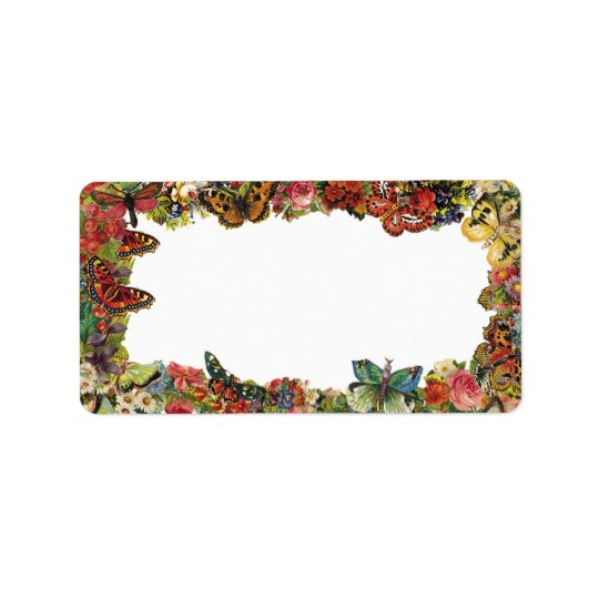 Butterflies and Flowers Vintage Border Label