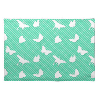 Butterflies and pinstripes - white on aqua place mat