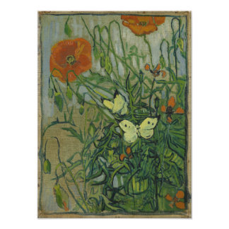 Butterflies and Poppies by Vincent Van Gogh Photographic Print