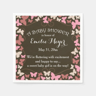 Butterflies Baby Shower Disposable Napkins