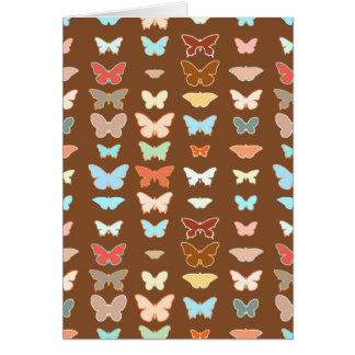 Butterflies, brown, turquoise and coral greeting cards
