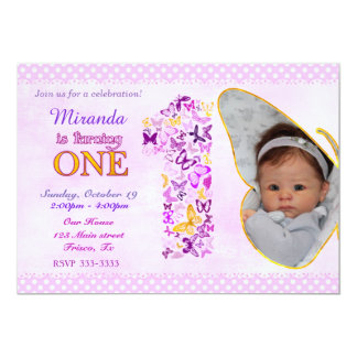 Butterflies First Birthday Party Invitation