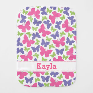 Butterflies Girls Personalized Burp Cloth