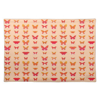 Butterflies, gold, coral, soft orange background placemats