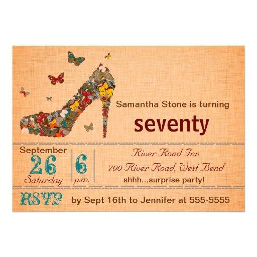 Butterflies High Heel 70th Birthday Invite