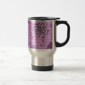 Butterflies In Pink And Purple Stainless Steel Travel Mug