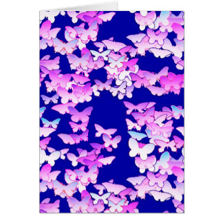 Butterflies, lavender and dark blue greeting card