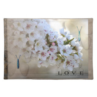 Butterflies Love White Floral Placemat