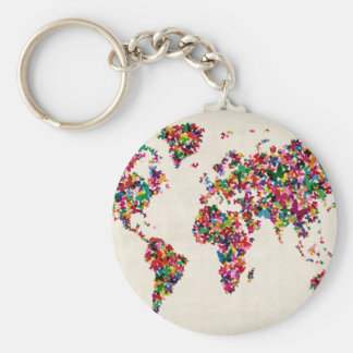 Butterflies Map of the World Map Basic Round Button Key Ring