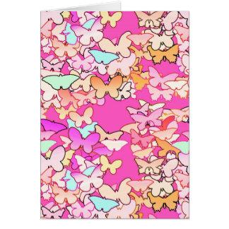Butterflies, multi and deep pink card