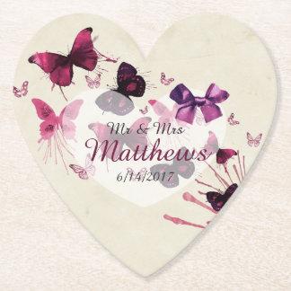 Butterflies Personalized Wedding Heart Coasters