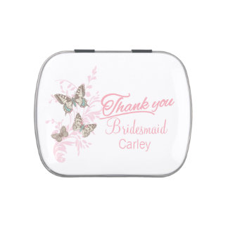 Butterflies pink customized wedding favor candy jelly belly candy tin