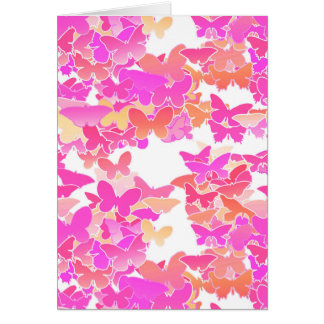 Butterflies, pink, fuchsia and coral card