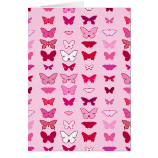 Butterflies, shades of pink and fuchsia greeting cards