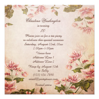 Butterflies & Vintage Almond Blossom 70th Birthday Custom Invites