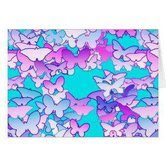 Butterflies, violet and turquoise greeting cards