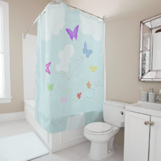 Butterflies Wandering in the Sky Shower Curtain