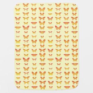 Butterflies, yellow, gold and orange receiving blankets