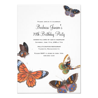 Butterfly 70th Birthday Party Invitation