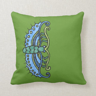 Butterfly and Caterpillar on Green Cushion