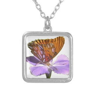 Butterfly And Flower Silver Plated Necklace