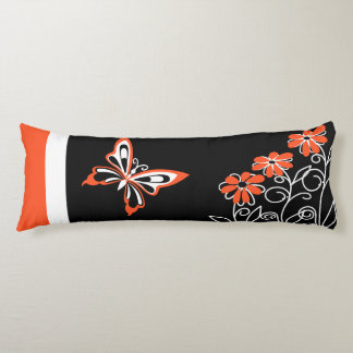 Butterfly and Flowers Orange white and Black Body Pillow