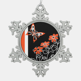 Butterfly and Flowers Orange white and Black Ornament