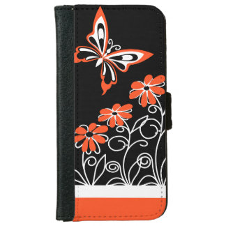 Butterfly and Flowers Orange white and Black iPhone 6 Wallet Case