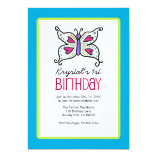 Butterfly and Hearts Birthday Party Invitaitons Custom Invite