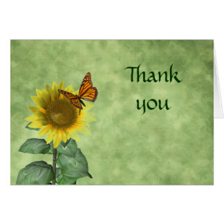 Butterfly and Sunflower Thank You Card