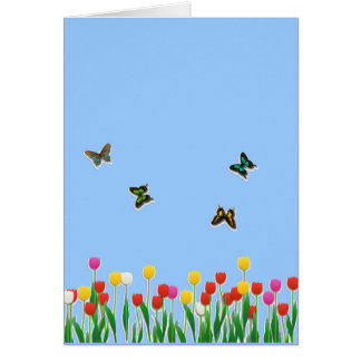 Butterfly and Tulips Note Card