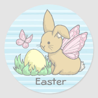 Butterfly Bunny and the Easter Egg Round Sticker