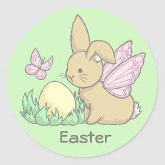 Butterfly Bunny and the Easter Egg Round Stickers