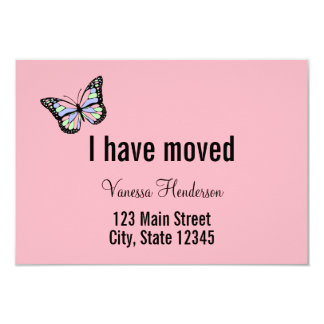 Butterfly Custom Pink Moving Announcement