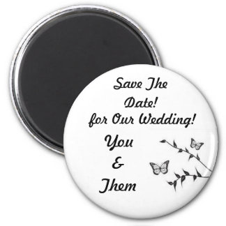 Butterfly Design, Wedding Save The Date! 6 Cm Round Magnet
