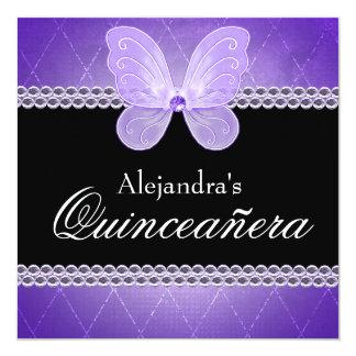 Butterfly Diamonds Purple Quinceanera 13 Cm X 13 Cm Square Invitation Card