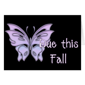 Butterfly Due this Fall Pregnancy Announce Card