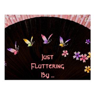 Butterfly Fan on Pink Lace Happiness Postcard