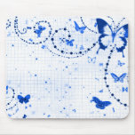 Butterfly Flash Blue Mouse Pad