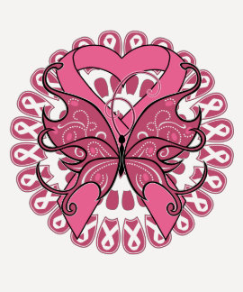 Butterfly Heart Ribbon - Breast Cancer T Shirts