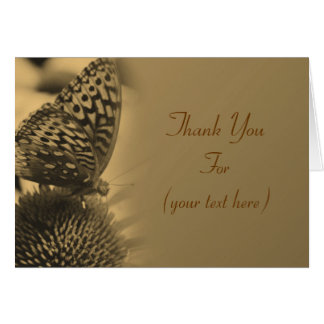Butterfly In Aged Sepia Nature Thank You Note Card
