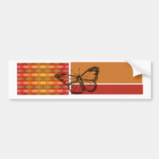 Butterfly in Oranges with Stripes  Polka Dots Bumper Sticker