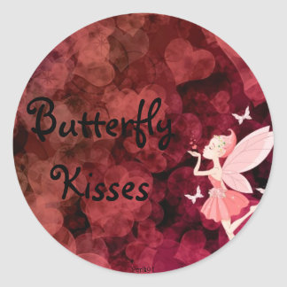 Butterfly kisses classic round sticker