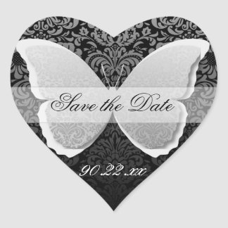 "Butterfly Lace ""Save the Date"" Heart Sticker"