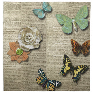 Butterfly Newspaper Floral Print Napkins