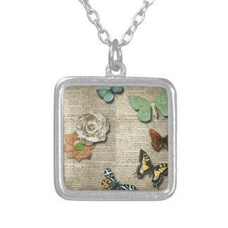 Butterfly Newspaper Floral Print Necklace
