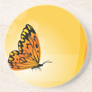 Butterfly on Yellow and Orange Drink Coasters