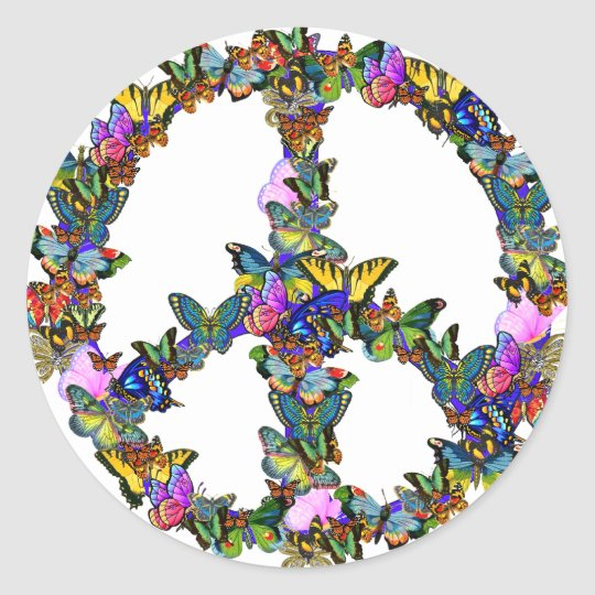 Butterfly Peace Symbol Classic Round Sticker